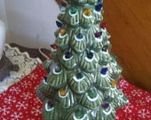 "Vintage Ceramic Christmas Tree, 17"" Green, w/Lights and Base, Excellent, Taiwan, 1980"
