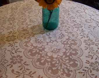 Vintage White Lace Tablecloth,  Oval 88 x 60, Simple Elegance, Flaws