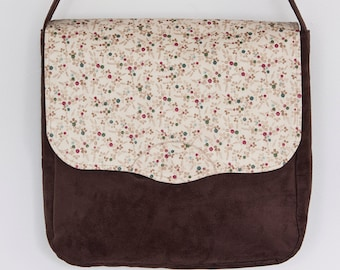 Chocolate brown suede and cotton print messenger bag