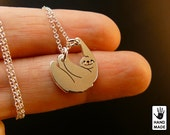 Tiny SLOTH  Handmade Sterling Silver .925 Necklace in a gift / present box.