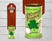 St Patrick's Day Wall Mounted Bottle Opener with Vintage O'Keenan's Erinbrew Beer Can Cap Catcher