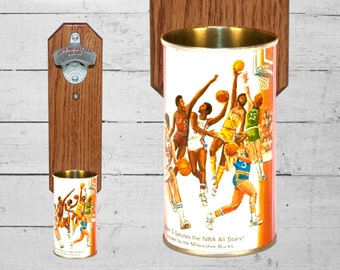 NBA All Star Game Bottle Opener with Vintage Graf's Root Beer Can Cap Catcher