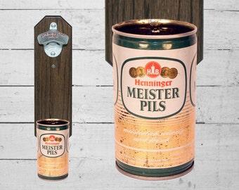 Henninger Meister Pils Wall Mounted Bottle Opener with Vintage German Beer Can Cap Catcher -  Groomsmen Gift