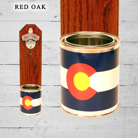 Colorado wall mounted bottle opener with state flag bottle cap - Wall mounted beer bottle opener cap catcher ...