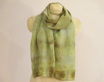 """Eco Fashion Silk Scarf - Plant Dyed - Natural Dye - Green - Indigo  - CDC111511 -  approx. 14""""x70"""" (35 x 177cm)"""