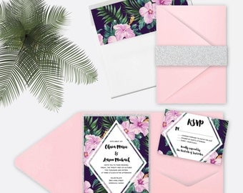Pink and Green Tropical Hibiscus Wedding Invitation Set- Deposit