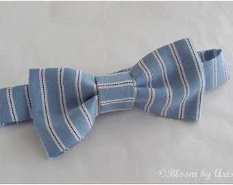Preppy bow tie collection. Blue and white stripes  0-10 yrs. size available