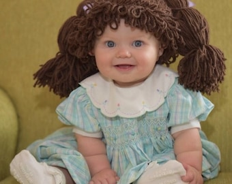 Costumes for kids, Cabbage Patch Costume, Cabbage Patch Kid Wig, Baby costume, Cabbage patch inspired hat, Dress up hats for kids, Baby Wigs