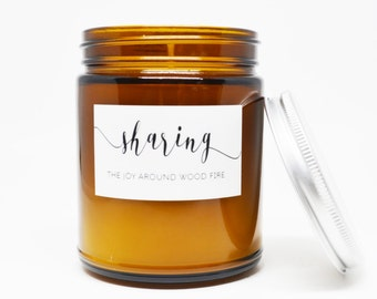 Sharing the Joy around Wood Fire Soy Candle in Amber Glass Jar with Silver Lid