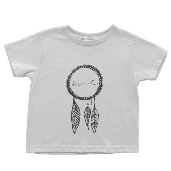 Dreamer white kids tee shirt silk screen by bohemedesignshop for Silk screen t shirt