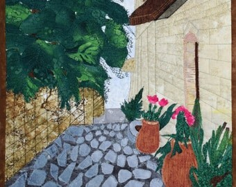 Quilted Landscape Scenes of Israel: Winding Street in Safed