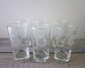 Vintage Glasses with Flowers Set of Six Juice Tumblers Barware Highball