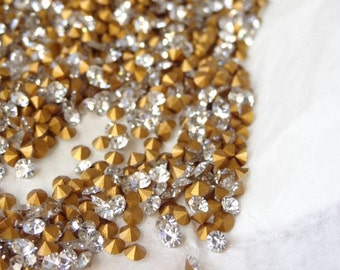 36 NOS Vintage Swarovski Crystal Clear Rhinestone ss5  12pp. 1.80mm ART 1100 1st Quality Gold Foiled RS58