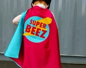 Superhero Cape Personalized Name Lightening Bolt Red and Turquoise , 2T - 7T,  new sibling fast ship