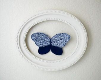 3d fabric butterfly, wall decor for girls room, nursery decor. Navy butterfly fabric wall decal. 3d wall art