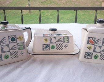Vintage Atomic Modernist Cream Pitcher and Sugar Bowl Butter Dish Set Ceramic Pottery 1950's - 1960's Mid Century