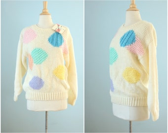 1980s handknit sweater / 80s geometric acrylic oversize sweater / Stranger Things sweater