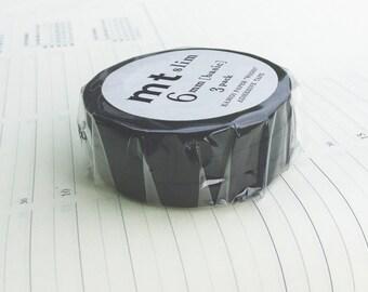 Three (3) Slim Japanese thin washi tape, black rolls of 6mm x 10M mt washi masking tape 6pcs