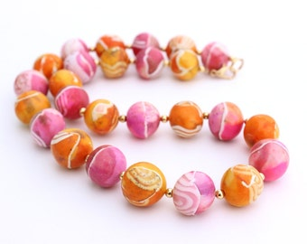 Pink and Orange Necklace, Polymer Clay, Lightweight Necklace, Collar Necklace, Short Necklace