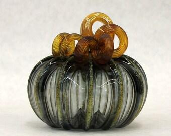 Hand Blown Glass Art Sculpture Pumpkin Gourd Oneil 7045 grey