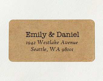 Return Address Labels - Design #09, Elegant Address Labels, Brown Kraft Labels, Custom Printed Labels, Rustic Wedding