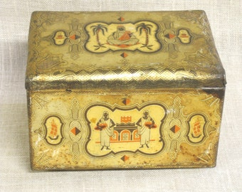 Antique Tin, Tins, Container, Canister, Candy Tin, Biscuit Tin, Metal Box, Boxes, Storage, Organization, Desk Box, Dresser Box, Collectibles