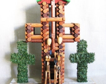 Folk Art, Sculpture, Grant Wood, Wil Shepherd, Religious Art, Cross, American Gothic, Wil Shepherd Studio, Found Objects,Assemblage,Portrait