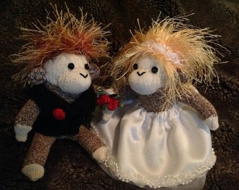 Tiny itty bitty 5 inch sock monkey bride and groom wedding couple.  Made by hand.