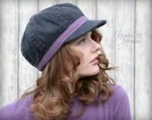 Wool Newsboy Hat / Charcoal Gray and Purple