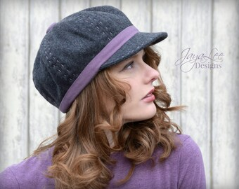 Wool Newsboy Hat / Charcoal Gray and Purple