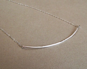 Silver Bar Necklace, Curved Bar Necklace, Hammered Bar Necklace, Steling Silver Curved Bar, Silver Hammered Bar Necklace