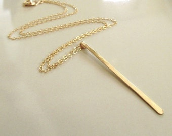 Gold Bar Necklace, Long Gold Bar, Hammered Gold Bar Necklace, 14k Gold Filled, Long Bar Necklace, Hammered Bar Necklace, Long Gold Pendant