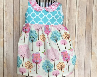 Boutique Girls peter pan collar dress, sizes 0-8, toddler and infant  dress, girls turquoise trees spring easter jumper dress