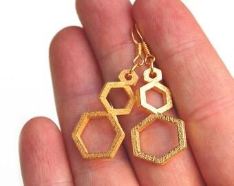 Three Hexagon Earrings // 3d printed steel brass silver drop earrings // gold-plated // Geometric Desires // Geometric Earrings