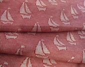 """Vintage 1970s Sailboat Knit Fabric, Red & White, Tube Fabric, 62"""" wide x 1 1/2 YDs"""