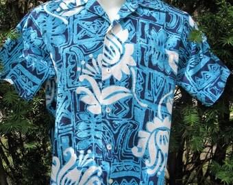 Men's Vintage 60s Rai Nani Hawaiian Barkcloth  Shirt, Bold Tiki Tribal Turquoise, Navy & White, Small
