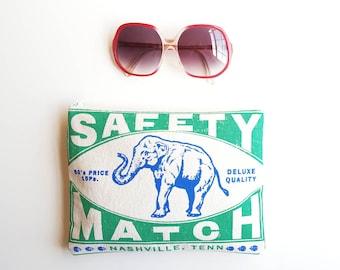 Elephant Cotton Zip Clutch Zipper Pouch Purse Organizer Matchbook Art Women Wholesale Accessories Made in Nashville Tennessee USA