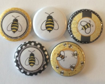 Set Of 5 Bumble Bee Mini 1 Inch Magnets Or 125 Button You Choose
