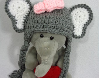 Gray Elephant Beanie Cap, Crochet Baby Jungle Animal Hat, Photo Prop with Pink Bow, Grey Elephant Hat with Braid and Earflaps, Baby Gift
