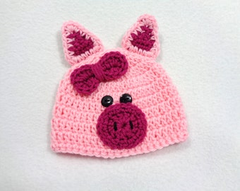 Little Pink Pig Cap, Piggy Baby Hat, Halloween Farm Animal Hat, Crochet Baby Beanie with Ears MADE TO ORDER by Charlene, Gift for Baby Girl