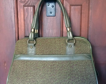 1960s Green Tweed Handbag Purse