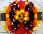 Thanksgiving Turkey Fall Color Hair Bow