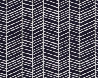 Herringbone in Lake from Modern Meadow by Joel Dewberry Fabric by the Yard | Free Spirit Navy Herringbone Fabric