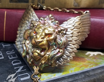 Large WINGED LION Slave Bracelet ~ Rainbow Patina Brass w/ Swarovski Eyes ~ Roaring Lion, Victorian, Gothic, Steampunk, Fantasy #B0141