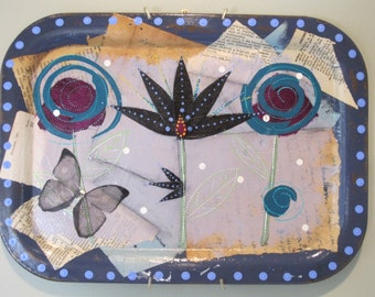 Abstract flowers collage, 2D art, folk art, funky junk, found objects
