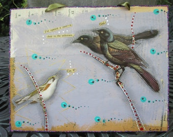 Sassy bird collage, tiny art, 2D art, recycled home decor