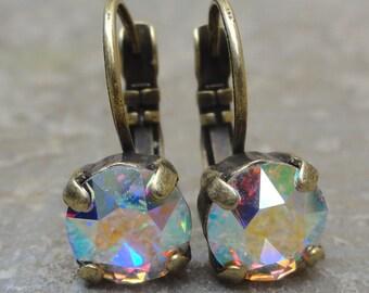 Swarovski AB Crystal Dangle Lever Back Earrings, Aurora Borealis Crystal Drop Earrings, Iridescent Rainbow Crystal Bridesmaid Earrings
