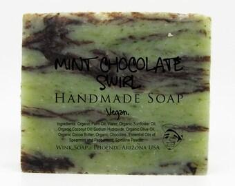 Mint Chocolate Swirl Handmade Soap, Vegan, Organic, 100% Natural, Essential Oils