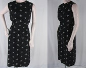 Vintage 50s Sheath Dress S Black Rayon Floral Embroidery Sleeveless