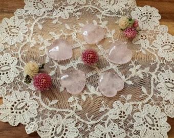 Rose Quartz Heart, Pocket Stone